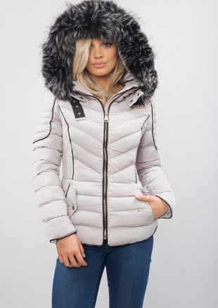 db5c5c04aa9a2 Quilted Faux Fur Hooded Padded Puffer Coat Grey