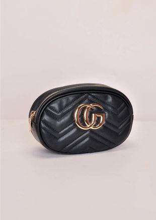 Chevron Pattern QuiltedGold Detail Bum Bag Black