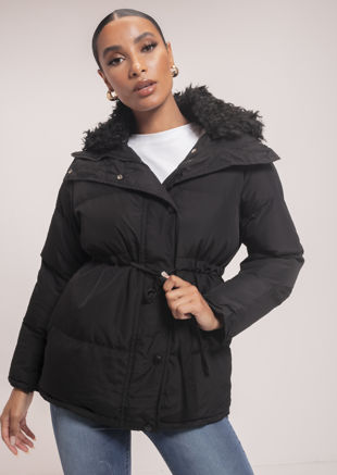 Quilted Puffer Faux Fur Collared Coat Black