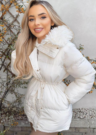 Quilted Puffer Faux Fur Collared Coat White