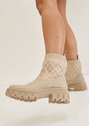 Pu Quilted Sock Cleated Ankle Boots Beige