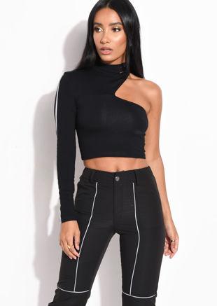 Reflective Binding One Shoulder Long Sleeve Crop Top Black