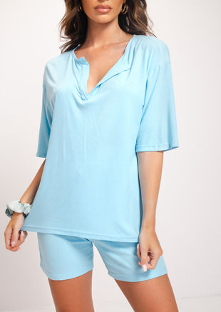 Relaxed Fit Ribbed T Shirt Shorts Co-ord Loungewear Set Blue