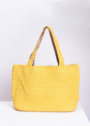 Reversible Woven Tote Bag Neon Yellow