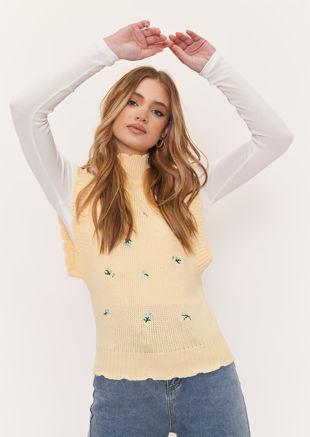 Mock Neck Knitted Frilled Floral Embroidered Vest Top Yellow
