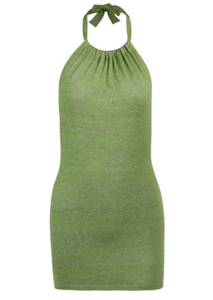 Rib Knit Halterneck Open Back Tie Mini Dress Green