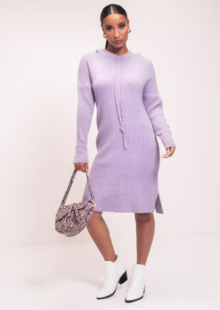 Rib Knitted Hoodie Long Sleeve Midi Jumper Dress Purple