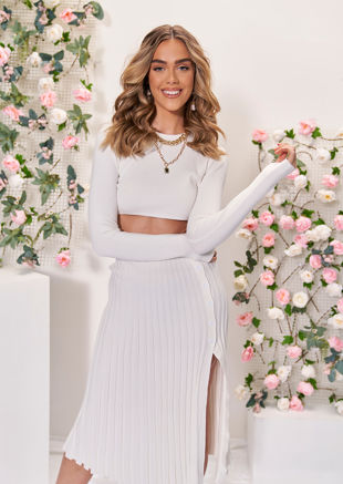Knit Long Sleeve Crop Top And Midi Pleated Split Skirt Co-Ord White