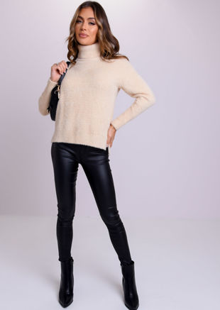 Fluffy Long Sleeve Turtle Neck Sweater Top Beige