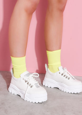 Ribbed Ankle Socks Neon Yellow