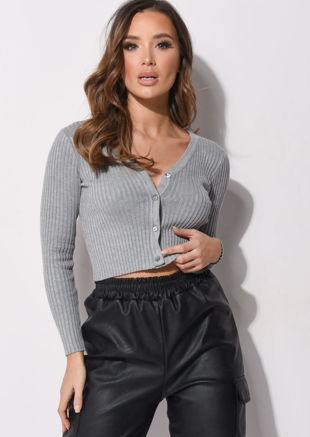 Ribbed Button Down Crop Cardigan Knitted Top Grey