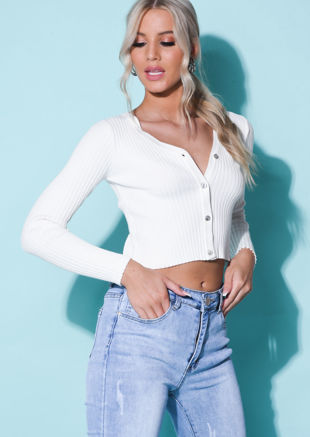 Ribbed Button Down Crop Cardigan Knitted Top White