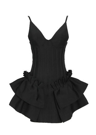 V Neck Cupped Side Frilled Strap Bodycon Mini Dress Black