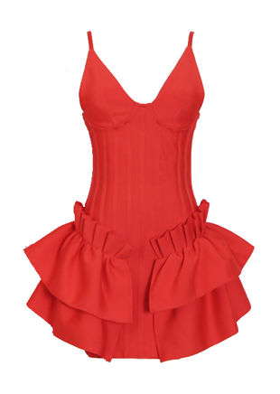 V Neck Cupped Side Frilled Strap Bodycon Mini Dress Red