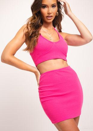 Ribbed Halterneck Crop Top And Mini Skirt Co-Ord Set Pink