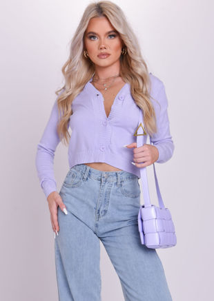 Ribbed Button Down Cropped Cardigan Top Purple