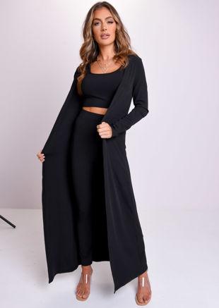 Ribbed Longline Cardigan Crop Top Legging Co-Ord Set Black