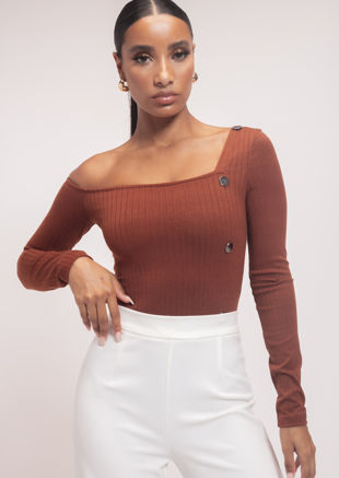 Ribbed Off Shoulder Button Down Bodysuit Brown