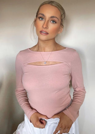 Ribbed Long Sleeve Cut Out Chest Detail Top Pink