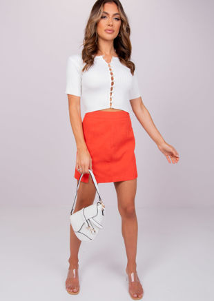 High Waisted Corduroy Mini Skirt Orange