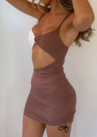 Contrast Ribbed Side Cut Out Ruched Drawstring Mini Dress Brown