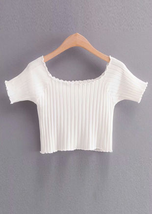 Ribbed Square Neckline Crop Knitted Top White