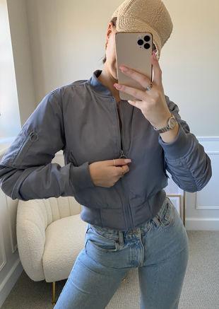 Long Sleeve Zip Front Bomber Jacket Grey