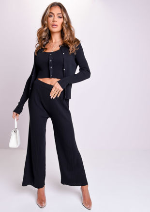 Ribbed Three Piece Crop Cardigan Tank Top and Trousers Co-Ord Set Black