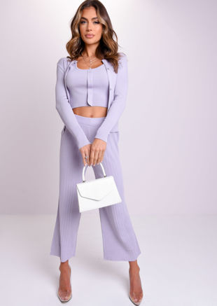 Ribbed Three Piece Crop Cardigan Tank Top and Trousers Co-Ord Set Blue