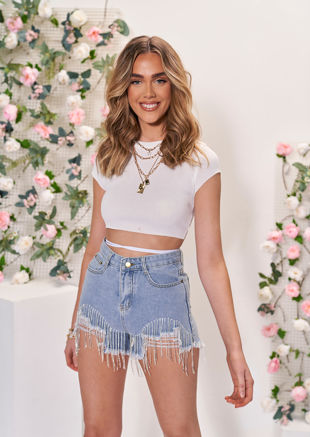 Ribbed Tie Back Crop Top White