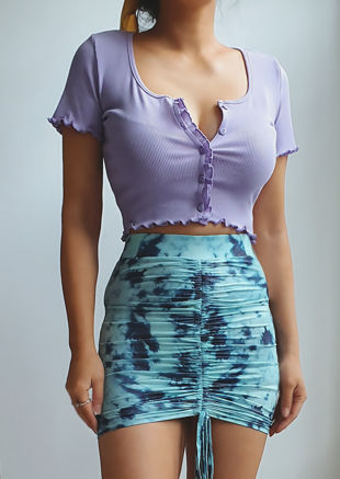 Ribbed V Neck Frill Button Front Crop Top Purple