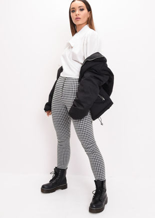 Woven Ring Zip Tartan High Waisted Legging Trousers Black