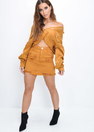 Ripped Denim Mini Skirt Tan Brown