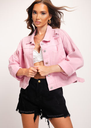 Ripped Denim Cropped Jacket Pink