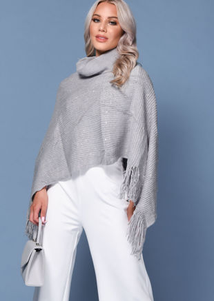 Roll Neck Knitted Sequin Frill Detail Cape Grey