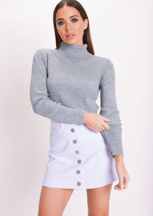 Roll Neck Long Sleeve Knit Crop Top Grey