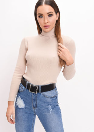 Roll Neck Ribbed Knit Top Beige