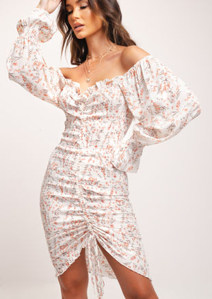 Shirred Square Neckline Floral Print Blouson Sleeves Midi Dress White