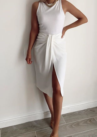 Ruched Knot Detail Midi Front Slit Dress White