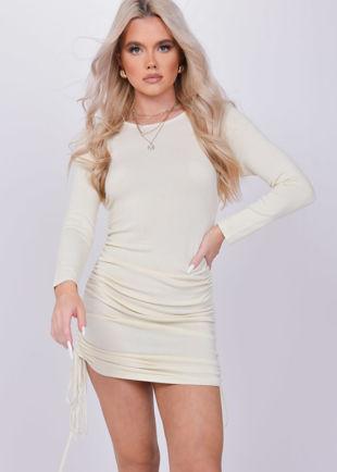 Ruched Side Drawstring Bodycon Mini Dress Beige