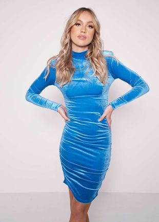 Ruched Side Long Sleeves Velvet Bodycon Midi Dress Blue