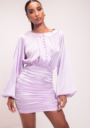Ruched Satin Bottom Puffed Long Sleeved Mini Dress Purple