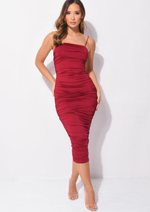 Ruched Slinky Skinny Straps Bodycon Midaxi Dress Burgundy Red