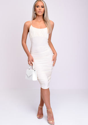 Ruched Strappy Bodycon Midi Dress Cream Beige