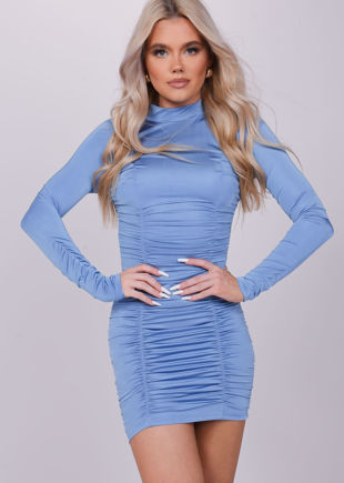 High Neck Ruched Stretch Long Sleeve Mini Dress Blue