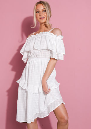 Ruffle Bardot Tiered Dress White