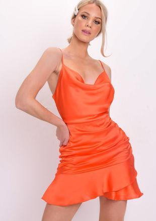 Satin Cowl Neck Ruffle Mini Dress Orange