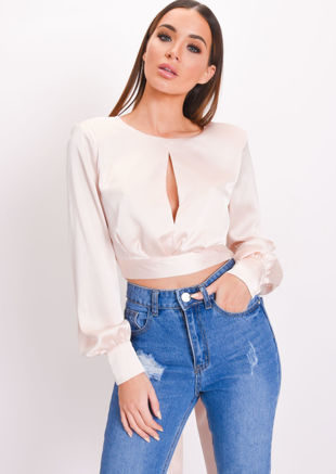 Satin Crop Tie Back Front Slit Blouse Nude Pink