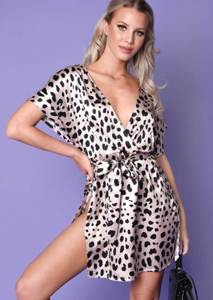 Satin Dalmatian Print Split Side Mini Dress Beige