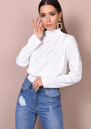 Satin High Neck Crop Blouse White